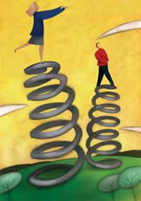 Es como si cada vez que caemos, unos resortes nos hacen rebotar hacia arriba y adelante.